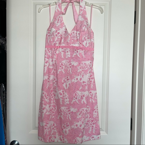 Lilly Pulitzer Pink white halter dress